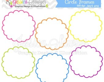 INSTANT DOWNLOAD,  whimsical circle frames - tag clipart - printable labels - rainbow - cards - invitations - scrapbook - digital frames