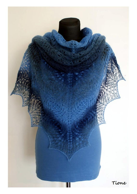 Scarf Hand Knitted Blue Grey Lace Triangle Shawl Shawlette. Blue Navy Denim. Estonian Wool Kauni. MADE TO ORDER.