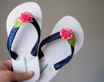 Navy Blue Pink Flower Girl Flip Flops