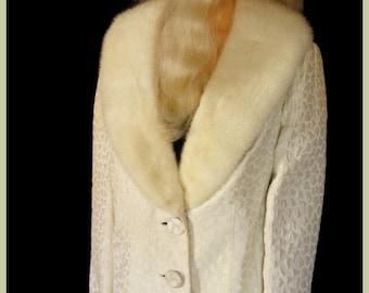 Vintage Cream Brocade Mink Collar Jacket Wedding Mink Jacket