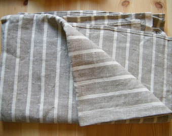 Natural linen/ pure flax towel, bath sheet, large bathroom towel,  gray ecru and white stripes.