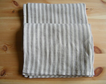 Bath Set: 2 Natural linen/ pure flax bath  towels and 2 hand/face towels.  Gray ecru and white narrow stripes.