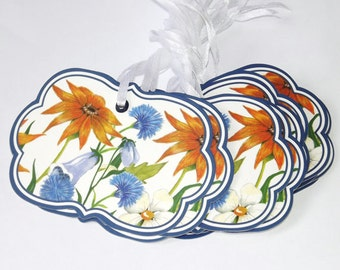 Navy Blue Spring Flowers Gift Tags Scrapboooking