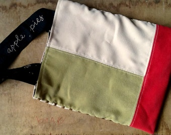 Colorblock Tote Bag. Geometric Fashion. Embroidered Straps. Raspberry. Olive Green. Beige.