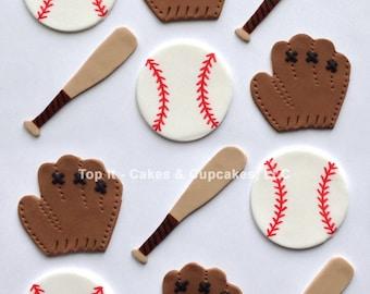Fondant Cupcake Toppers - Baseballs, Mitts, Bats