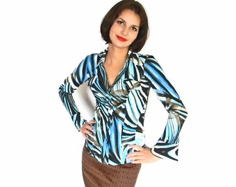 CLEARANCE Sale Vintage Blouse. Sequin Blouse 1980s Blue  Brown Shirt. XS Size. Mad Men Fashion Psychedelic.