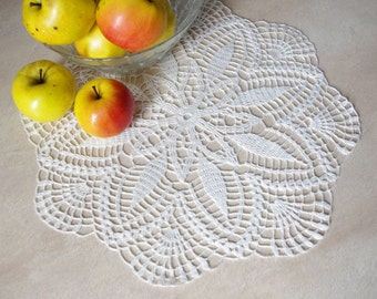 Crochet doily White handmade linen crochet doily Lace doily Crochet doilies 96