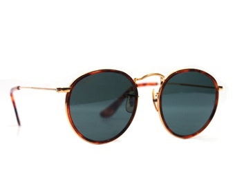 Vintage W1674 Ray Ban Sunglasses Bausch and Lomb  Tortoise Metal Round Sunglasses.