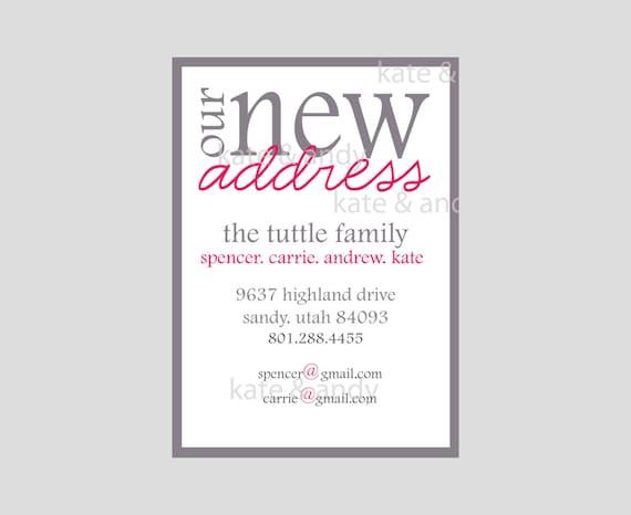 New address new address card custom digital file printable for Custom new address cards