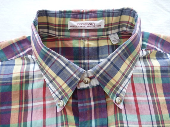 Vintage 100% Cotton Indian Madras Button Down Collar Short Sleeved Casual Shirt XL 16.  Made in USA.