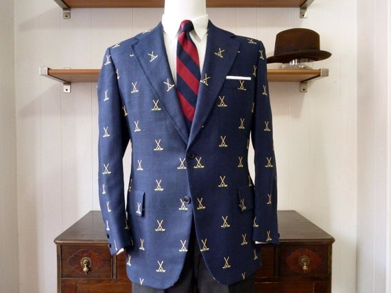 "ICONIC Vintage Chipp New York ""Crossed Golf Clubs"" Custom Made / Made to Measure Go to Hell GTH Jacket 42 R. Made in USA."