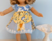 18 Inch American Girl Doll patchwork Sundress in blue and yellow prints by Project Funway on Etsy
