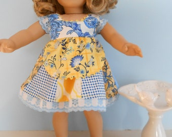 18 Inch Doll patchwork Sundress in blue and yellow prints by Project Funway on Etsy