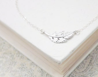 Tiny Silver Feather Necklace - Sideways Necklace - Sterling Silver