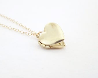 Small Brass Heart Locket - Vintage Locket - 14k Gold Filled Chain