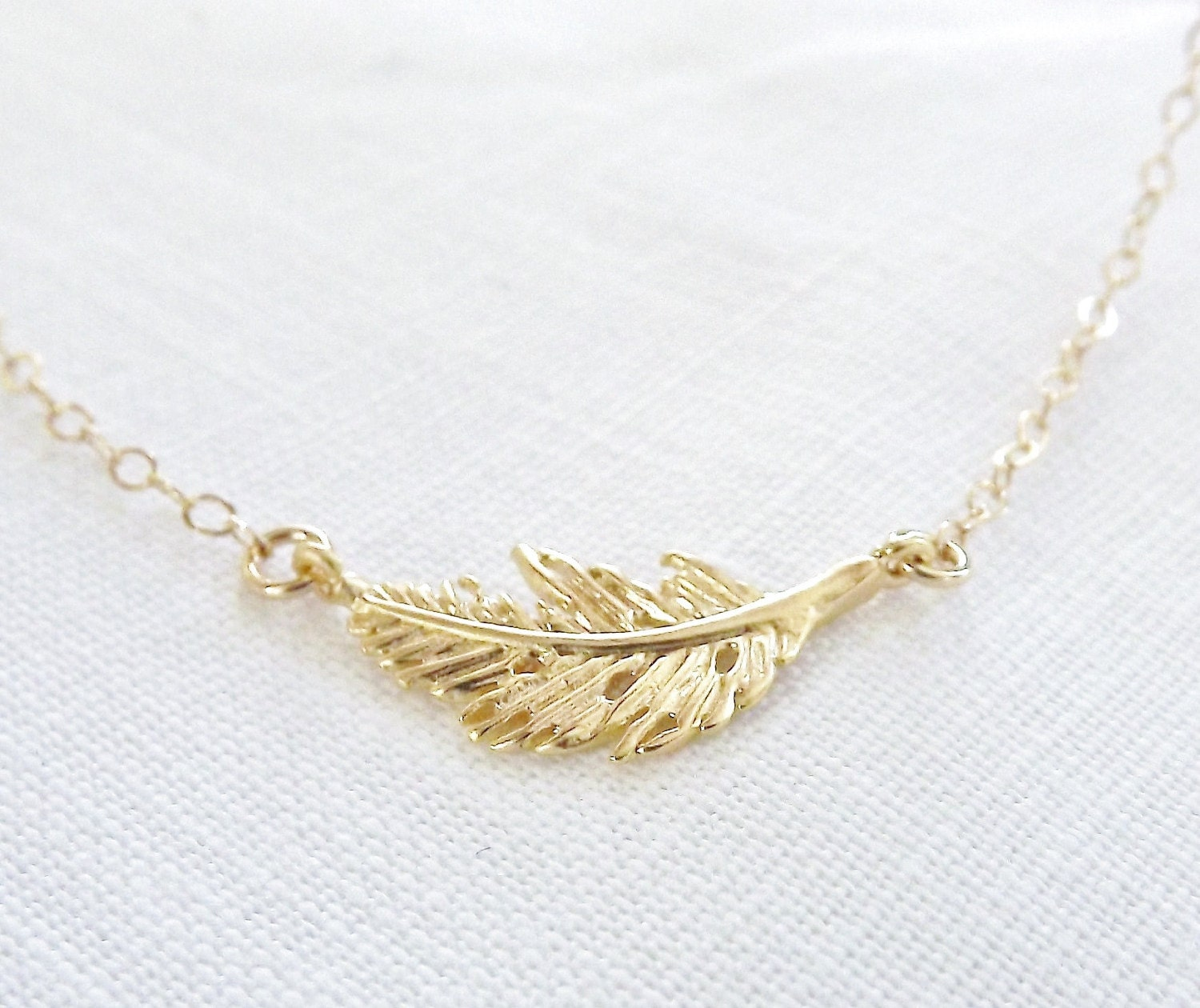 tiny gold feather necklace sideways necklace 14k gold