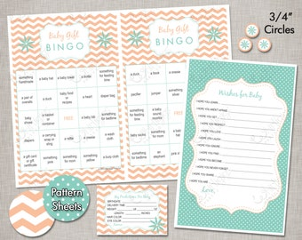INSTANT DOWNLOAD Baby Shower Games - Aqua Mint and Peach