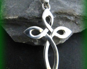 Sterling Silver Irish Knot Cross Necklace