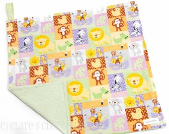 """Baby Lovey Blanket - Green and Yellow Noah's Ark Lovey 15""""x15"""" - Ready to Ship"""
