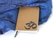 Yoga Journal Mini Notebook Hand Stamped OM Sketchbook Writing Journal Gift