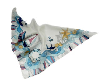 Red,  blue and white union jack  boats  and chevron silk scarf celebrating  Queen Elizabeth  jubilee. Made to order.