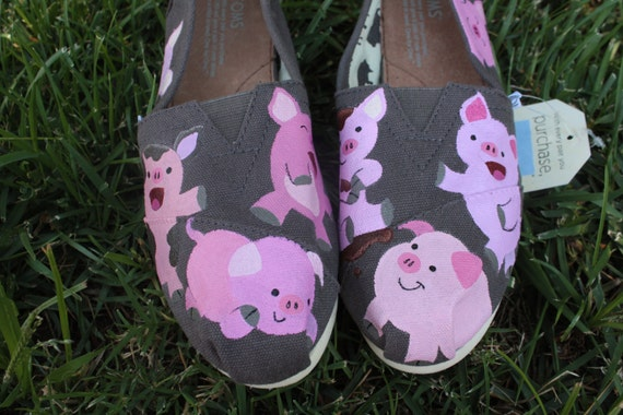 Pig Hand Painted TOMS Shoes