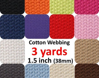 Cotton Webbing 1.5 inches 3 yards You Pick Colors Key Fobs Belts Purse Bag Straps Leash