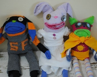 Made to Order Whimsical Recycled Stuffed Animal, Hand Stitched