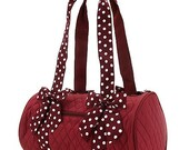 Personalized Belvah Maroon & White Polka Dot Black Quilted Duffle