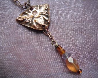 """Copper HoneyBee Necklace Hessonite and Amethyst 18"""" Dangle Pendant"""