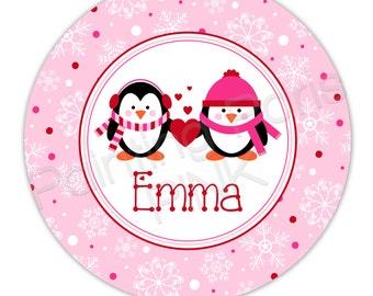 """Penguins Love Personalized 10"""" Melamine Plate, 20 oz. Bowl or 2 Piece Set 