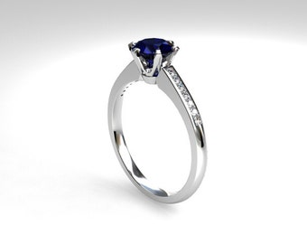 Blue sapphire ring, Diamond, white gold, Blue, engagement ring, solitaire, sapphire, 6 prong, blue engagement, unique