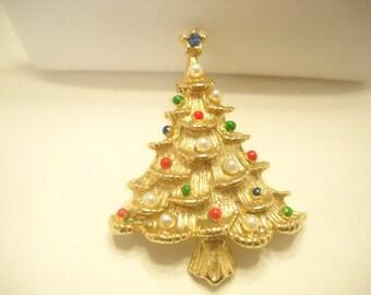 Vintage 1960s CHRISTMAS TREE BROOCH (5438)