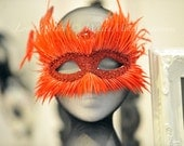 When Two Worlds Collide - Masquerade Mask - Ball Party Venetian Gothic Red Feathers Bird