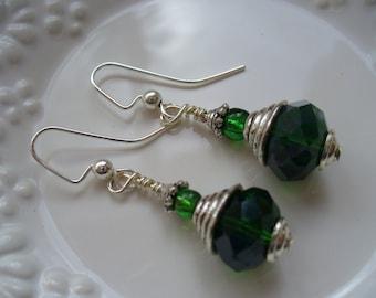 Dark Emerald Green Crystal Rondelle Beaded Earrings, Dangle Earrings, Green Earrings, Womens Jewelry, Silver Earrings