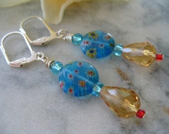 Light Blue Millefiori Beaded Leverback Earring, Womens Jewelry, Silver Earrings, Long Dangle Earrings, Flower Earrings