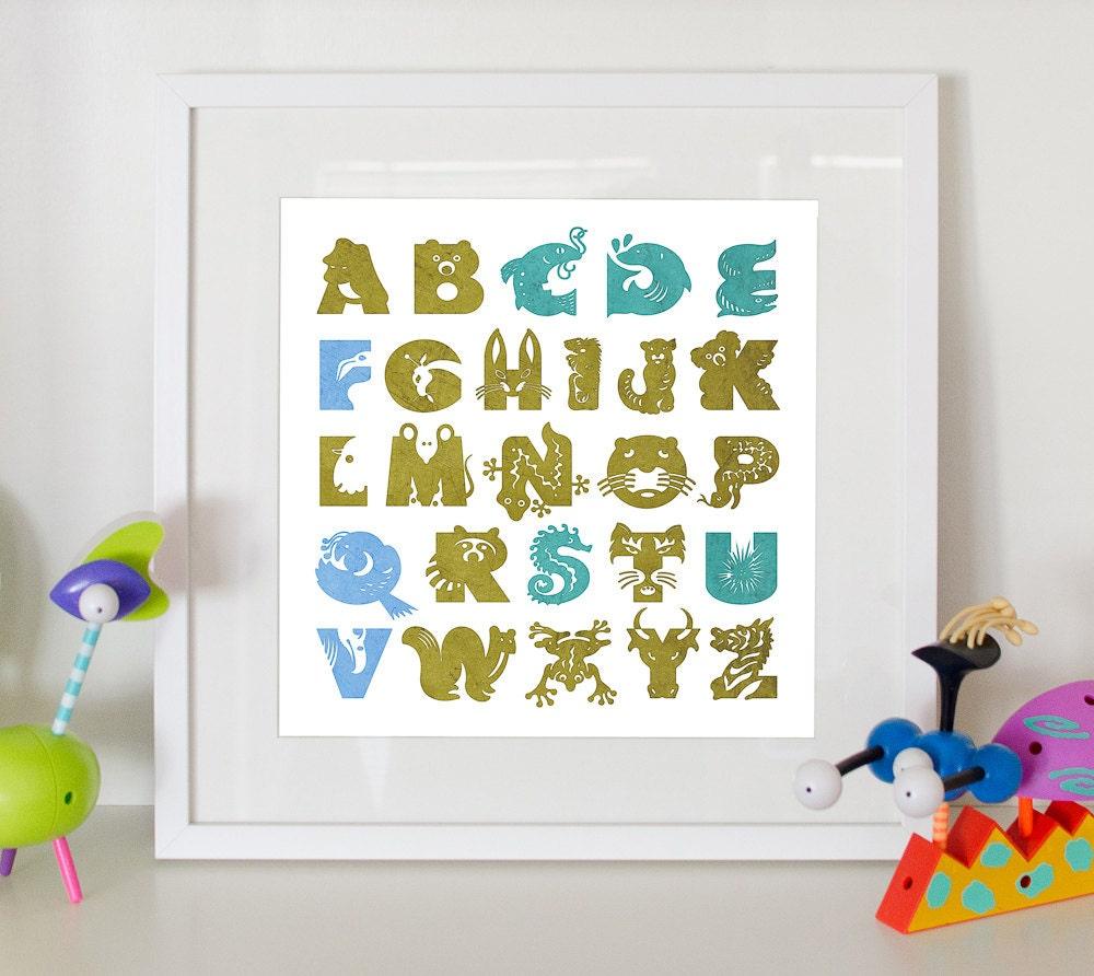 Animal alphabet print home decor nursery poster by for Alphabet mural nursery