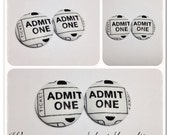 Button Earring- Admit one Ticket