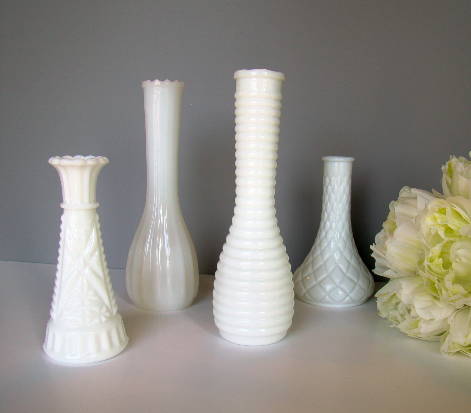 Milk glass wedding vases wedding decor table by twiningvines - Glass vases for wedding table decorations ...