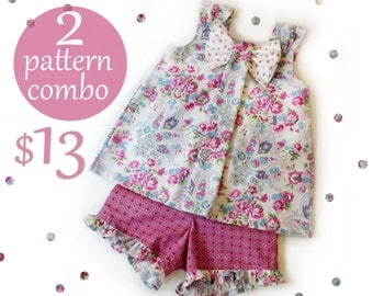2 Pattern Combo - Aubrey Dress Top and Simply Sweet Shorts - Dress PDF Pattern  Sizes 1-8
