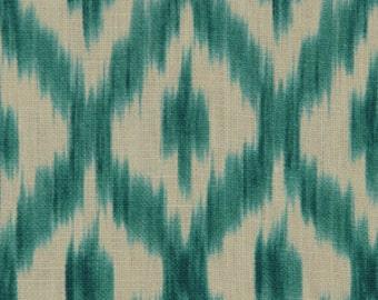 ON SALE - Turquoise Linen Ikat Fabric - Linen Upholstery Fabric - Ikat Fabrics on Sale