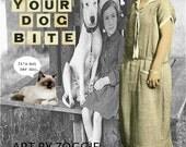 Original Sarcastic Humorous  Collage  Decoupage Digital Altered  Art cat dog girl
