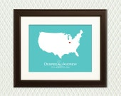 ENGAGEMENT GIFT - Silhouette of a Country or State Map with a Heart to celebrate the place that matters the most to you