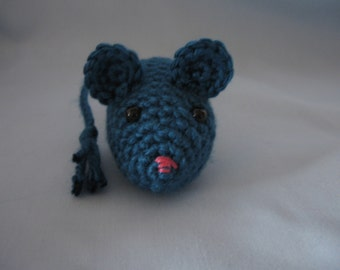 Cat Toy - Crochet Mouse - Catnip Filled Dark Teal Mouse