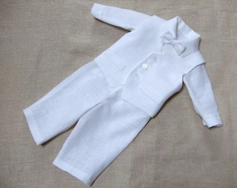 Baby boy baptism outfits Christening suit Baby boy white outfit Boy ring bearer linen suit 1st birthday natural clothes Baby boy formal suit