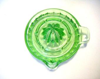 Green Depression Glass Hazel Atlas Reamer Juicer