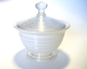 Depression Glass Horizontal Ribbed Covered Candy Dish