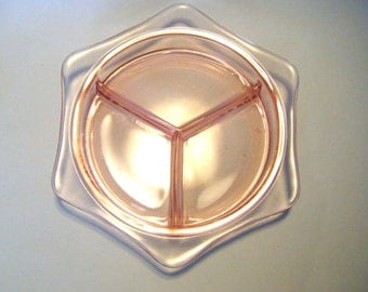 Peach Pink Depression Glass Divided Hextagonal Dish Beautiful
