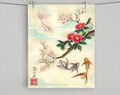 """GOLDFISH WITH SAKURA, Cherry Blossom Print 8"""" x 10"""""""