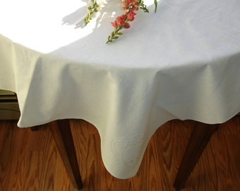 European  Cafe Style Table Cover Snowy white with Hand Embroidered Detailing 1960s